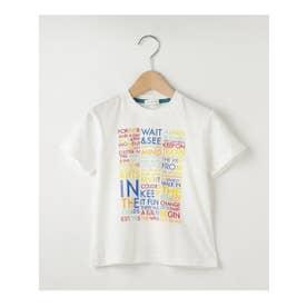 【100-140cm】カラフル英字ロゴTシャツ (ホワイト(002))
