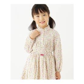 【100-140cm】小花柄シャツ (ピンク)