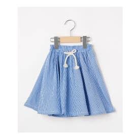 【100-140cm】コードレーンボリュームスカート (ブルー)