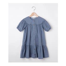 【100-140cm】コットンローンギャザー前釦ワンピース (ブルー)