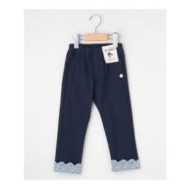 【100-140cm】ストレッチスキニー裾スカラップロングパンツ (ネイビー)