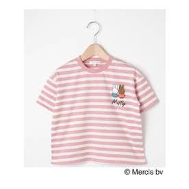 【90-120cm】【ミッフィー】ボーダーTシャツ (ピンク(372))