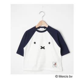 【90-120cm】【ミッフィー】ラグランTシャツ (ネイビー(593))