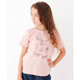 【90-150cm】シューズプリントTシャツ (ベビーピンク)