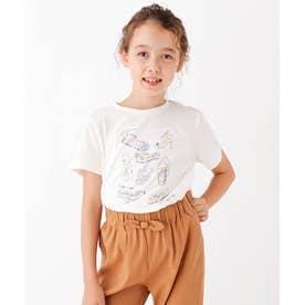 【90-150cm】シューズプリントTシャツ (オフホワイト)