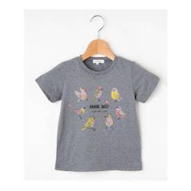 【90-150cm】バードプリントTシャツ (ダークグレー)