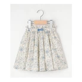 【100-140cm】総柄綿ローンインパンツ付きスカート (アイボリー)