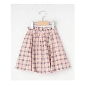 【100-140cm】総柄綿ローンインパンツ付きスカート (ピンク)