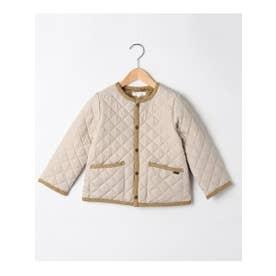 【100-150cm】はっ水キルト薄中綿ノーカラージャケット (ナチュラル)