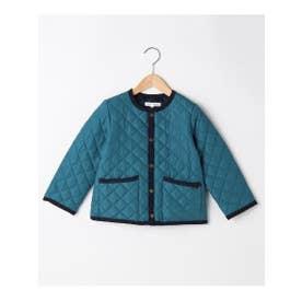 【100-150cm】はっ水キルト薄中綿ノーカラージャケット (ネイビー)