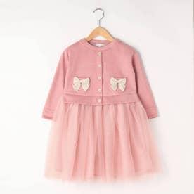 【90-140cm】スエード風裏起毛ドッキングワンピース (ピンク)