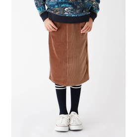 【100-150cm】ニットコーデュロイロングスカート (ブラウン)