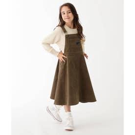 【100-150cm】コーデュロイサロペットスカート (カーキ)