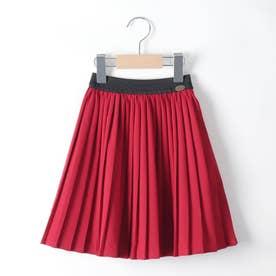【100-150cm】ツイルプリーツスカート (レッド)