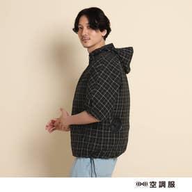 空調服(TM)半袖チェックフードブルゾン ファン付きウェア (ブラック)