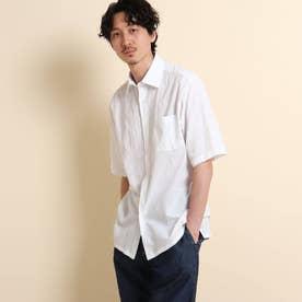 シャドーブロックチェック 半袖シャツ (ホワイト)
