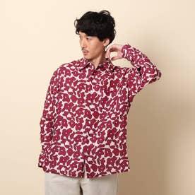 リネンプリントシャツ (ピンク)