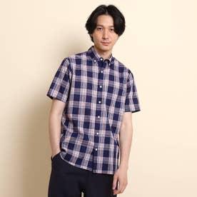 先染めチェック ボタンダウン 半袖シャツ (ネイビー)