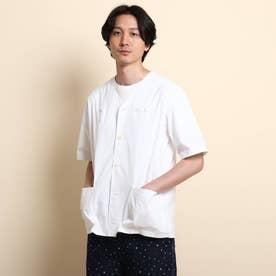 ストレッチタイプライター ノーカラー 半袖シャツ (ホワイト)