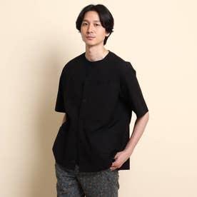 ストレッチタイプライター ノーカラー 半袖シャツ (ブラック)