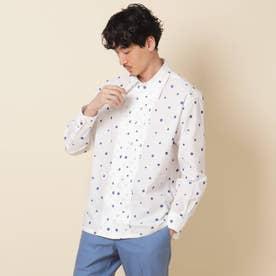 ドットジャカード ピンタックシャツ (ホワイト)