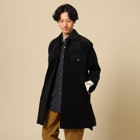 【Sサイズ~】ストレッチコールロングシャツ (ブラック)