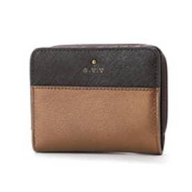 ラウンドファスナー二つ折財布 (ダークブラウン)