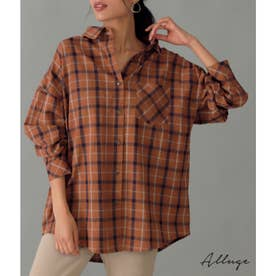 チェックビッグシャツ(ブラウン)