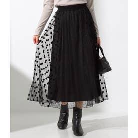 チュールドットフロッキープリントスカート(ブラック)