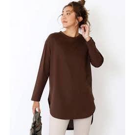 シルケットラウンドヘムロングTシャツ(ブラウン)