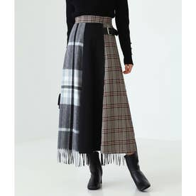ストール使いキルト風スカート(ブラック)