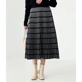 ジオメトリックラインスカート(ブラック)
