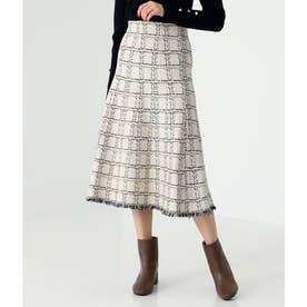 ツイード柄裾フリンジスカート(オフホワイト)