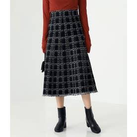 ツイード柄裾フリンジスカート(ブラック)