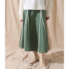 パイピングデザインスカート(オリーブ)