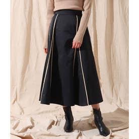 パイピングデザインスカート(ブラック)