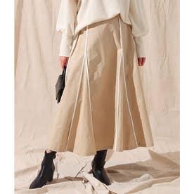 パイピングデザインスカート(ベージュ)