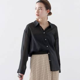 シアーバイカラーシャツ(ブラック)