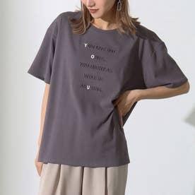 強撚コットンエンボスプリントTシャツ(アッシュブラック)