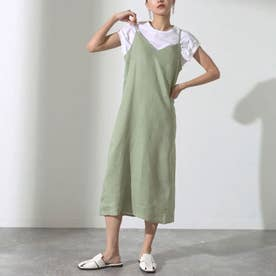 Tシャツ&フレンチリネンキャミソールワンピースアンサンブル(カーキ)