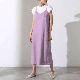 Tシャツ&フレンチリネンキャミソールワンピースアンサンブル(ラベンダー)