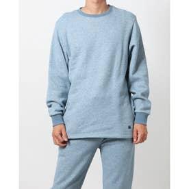 綿100%杢裏毛表ピーチ裏起毛クルーネック (ブルー)