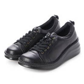 【A-OK】 スニーカー感覚のシューレース厚底コンフォート靴 《MS8480》(黒)