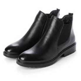 【軽量】<本革>サイドゴアカジュアルショートブーツ (ブラック)