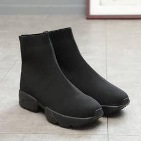 ソックス風スニーカーブーツ (ブラックブラック)