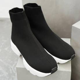 ソックス風スニーカーブーツ (ブラックホワイト)
