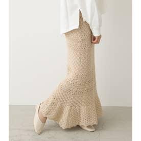 かぎ編み風ヘムフレアスカート BEG