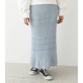かぎ編み風ヘムフレアスカート L/BLU1