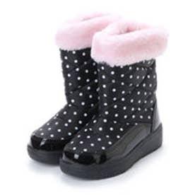 防寒ブーツ ジュニア キッズ ガールズ 女の子用 ファー付きドット柄 aw_17991 (BLACK/PINK)