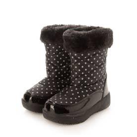 キッズ ファー付き 防寒ブーツ スノーブーツ ジュニア キッズ ガールズ 子供 ドット柄タイプ aw_16041(BLACK)(ブラック) (ブラック)